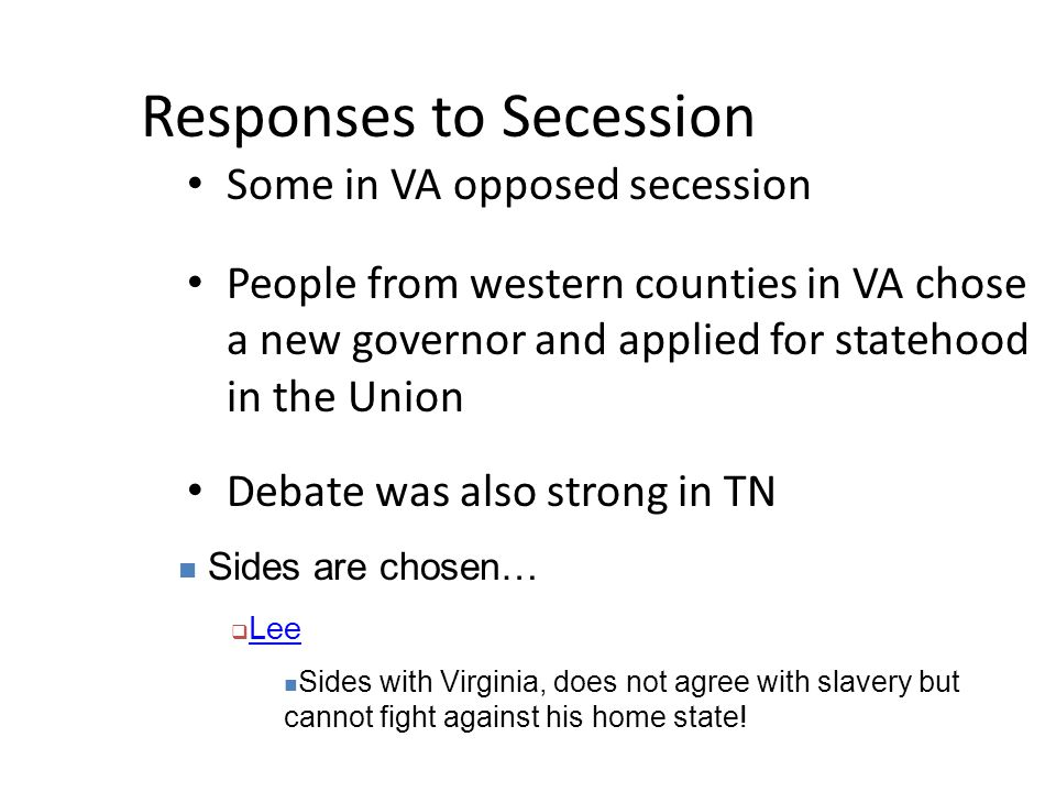 Responses to Secession