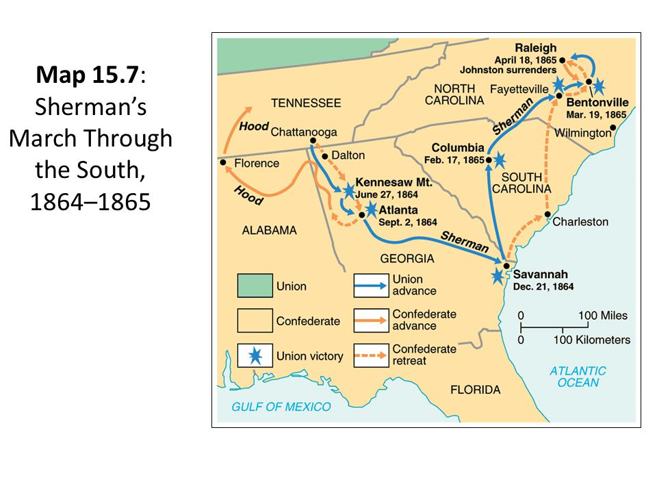 Map 15.7: Sherman's March Through the South, 1864–1865