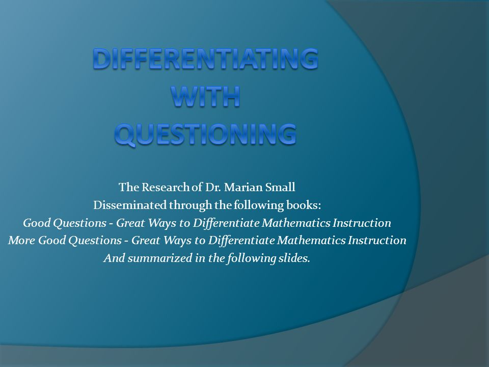 Differentiating With Questioning Ppt Download