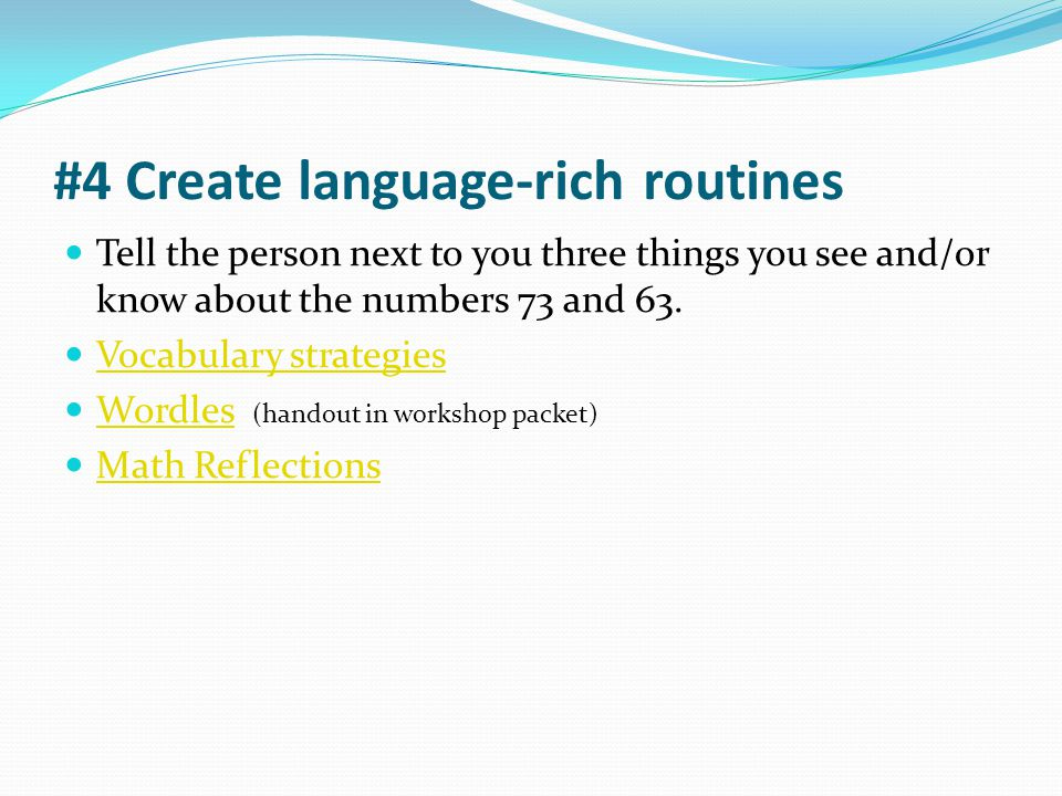 #4 Create language-rich routines