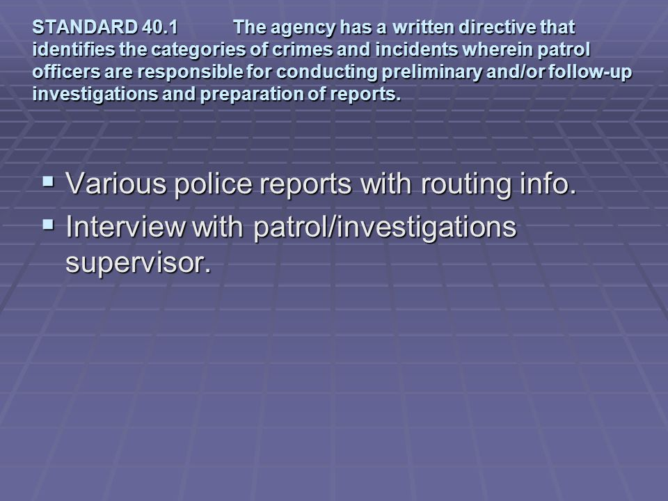 Various police reports with routing info.