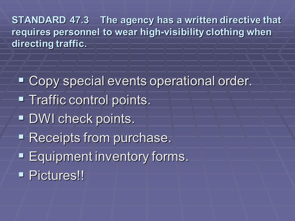 Copy special events operational order. Traffic control points.