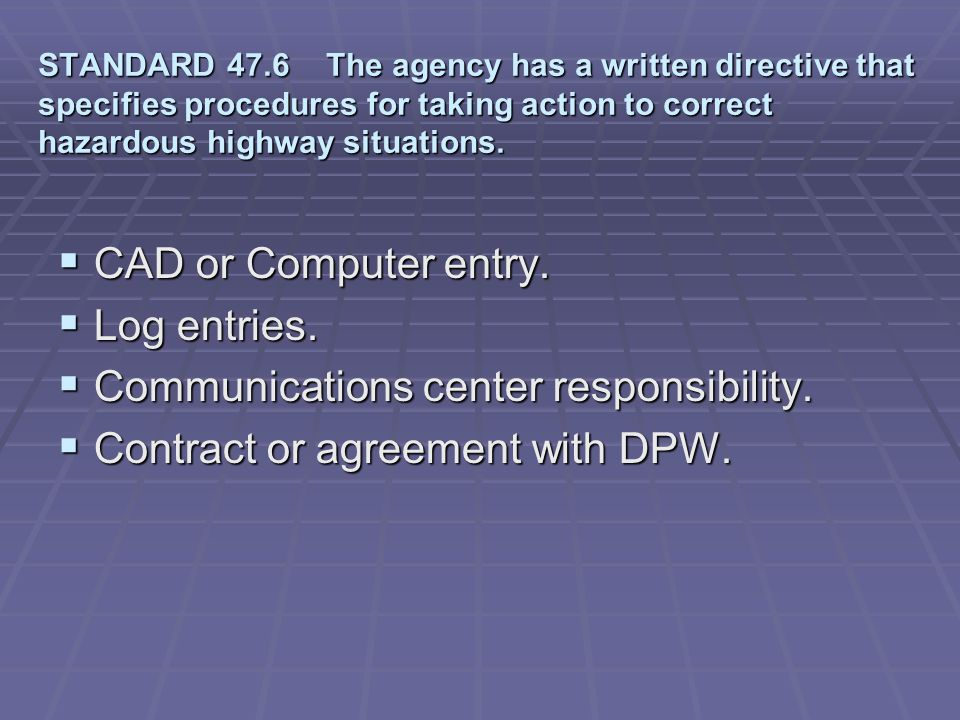 Communications center responsibility. Contract or agreement with DPW.
