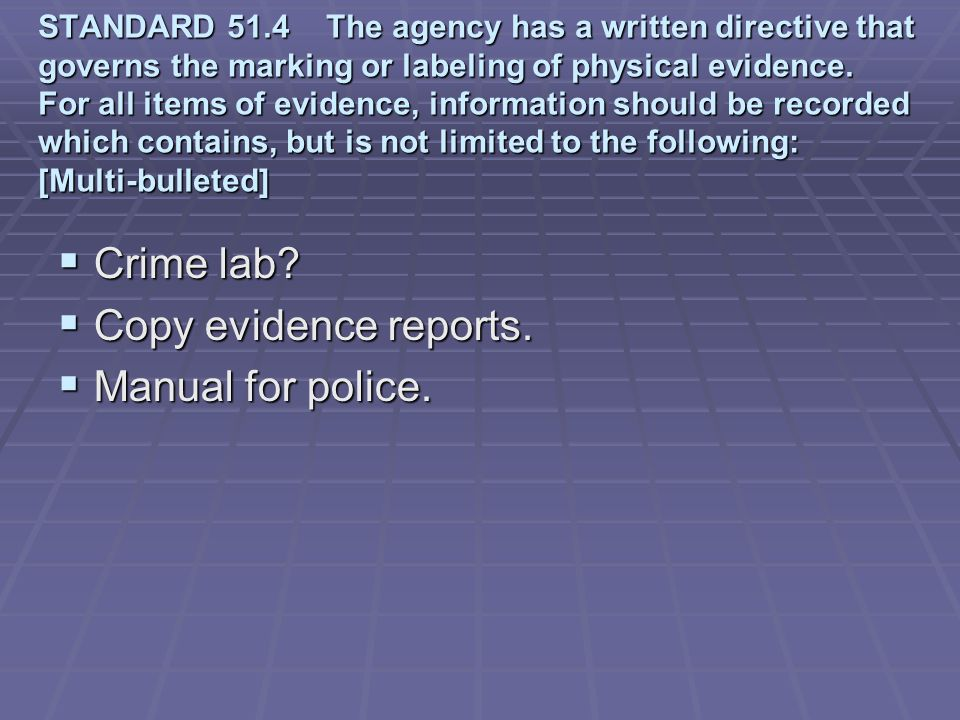 Crime lab Copy evidence reports. Manual for police.