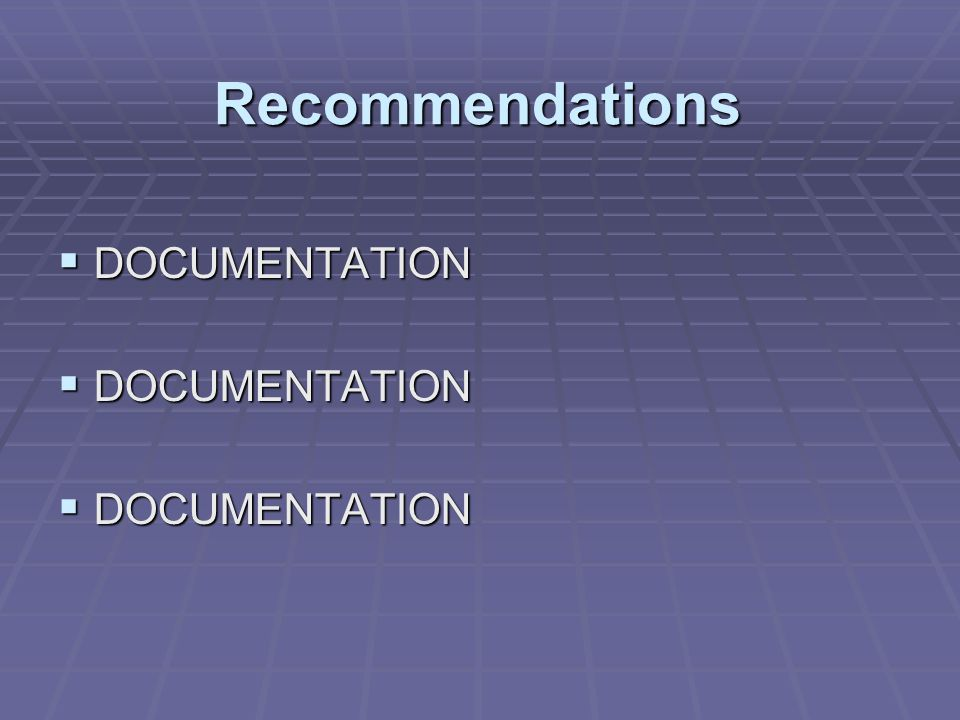 Recommendations DOCUMENTATION