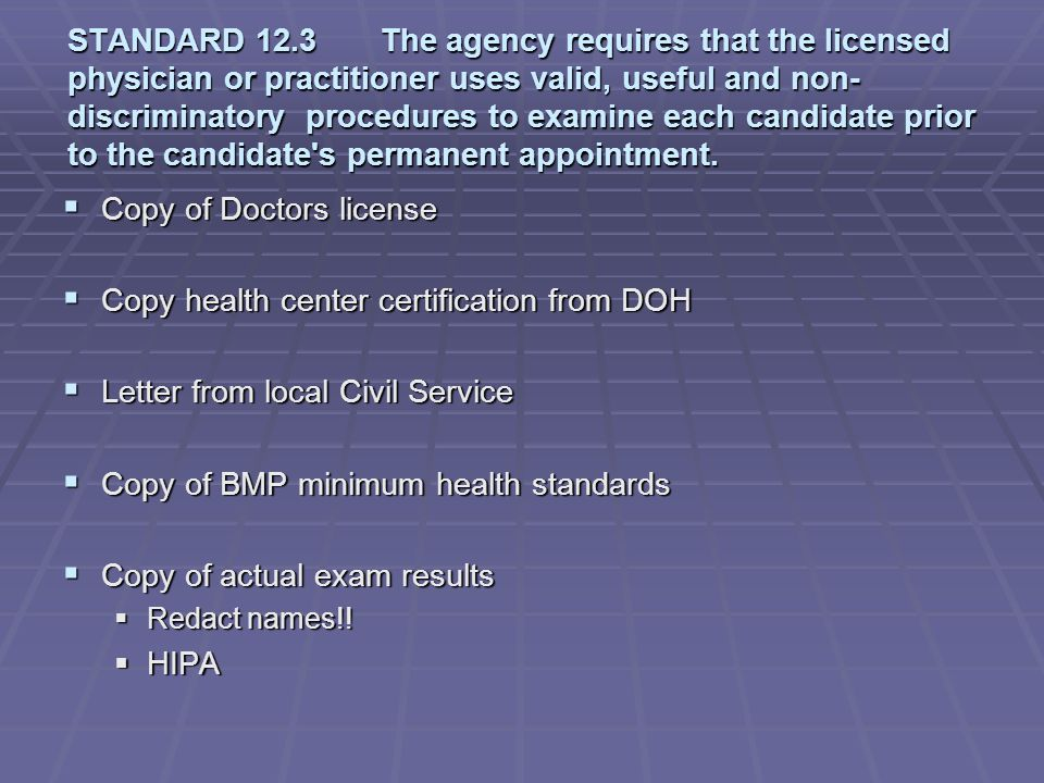 Copy of Doctors license Copy health center certification from DOH