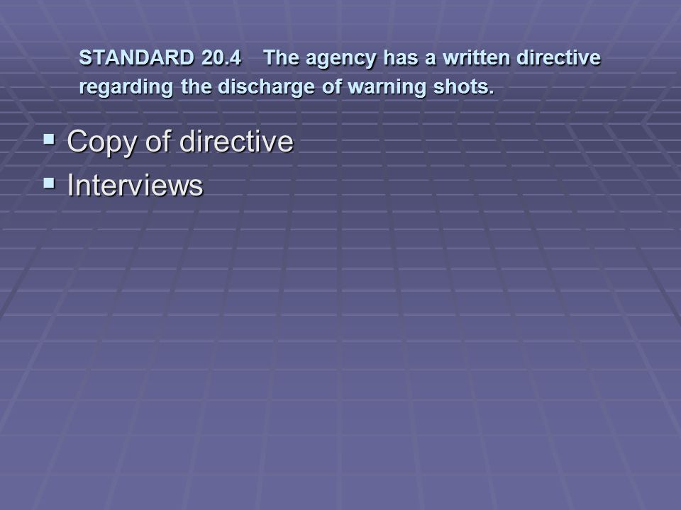 Copy of directive Interviews