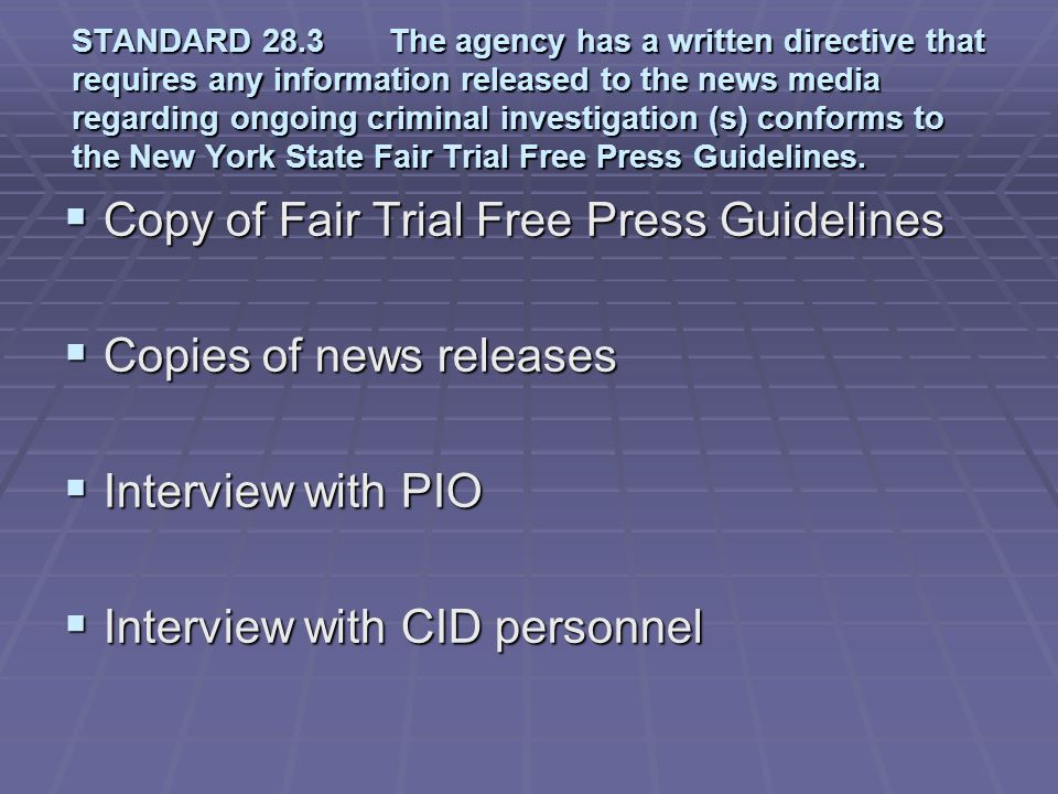 Copy of Fair Trial Free Press Guidelines Copies of news releases