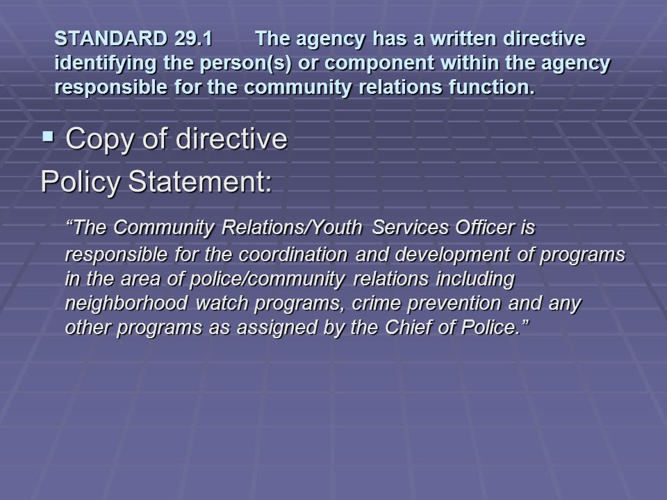 Copy of directive Policy Statement: