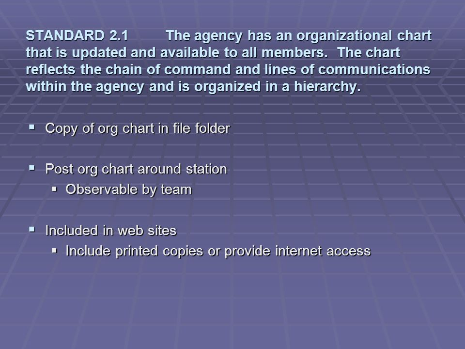 STANDARD 2.1 The agency has an organizational chart that is updated and available to all members. The chart reflects the chain of command and lines of communications within the agency and is organized in a hierarchy.