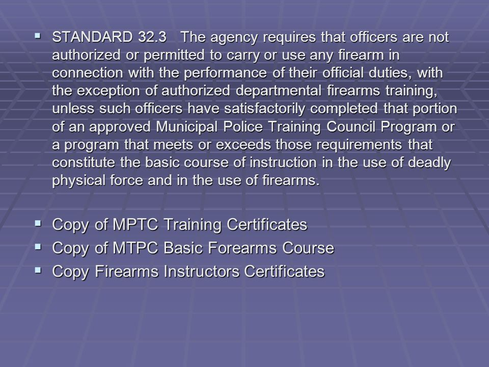 Copy of MPTC Training Certificates Copy of MTPC Basic Forearms Course