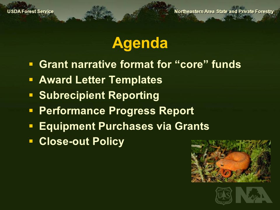 Agenda Grant narrative format for core funds Award Letter Templates