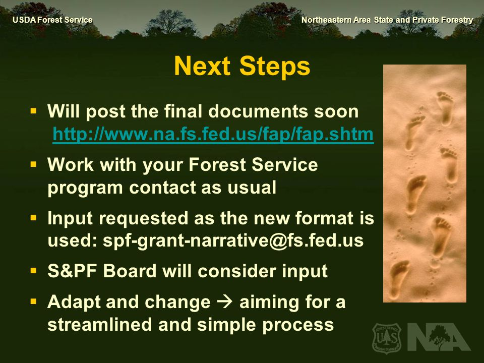Next Steps Will post the final documents soon