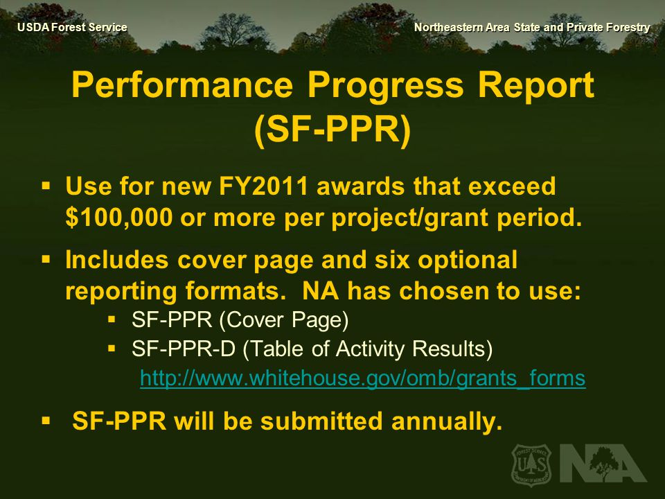 Performance Progress Report (SF-PPR)