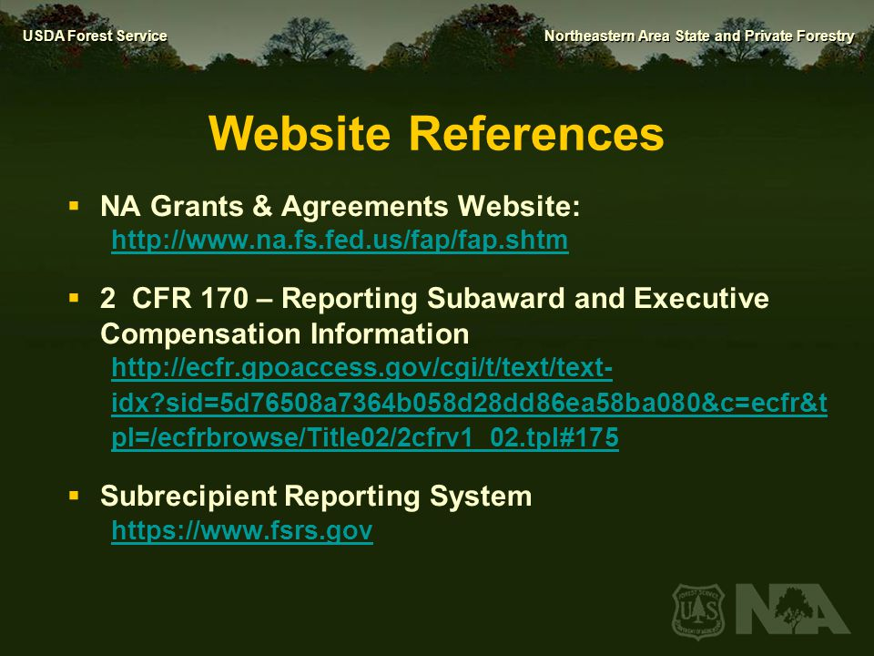 Website References NA Grants & Agreements Website: