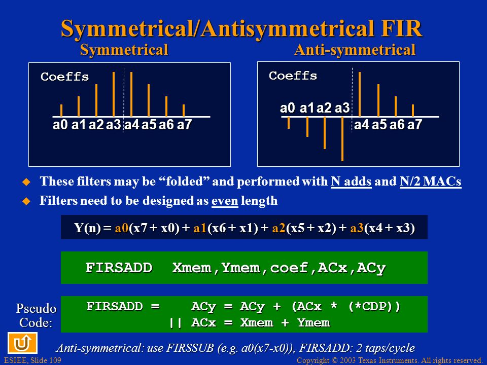 Symmetrical/Antisymmetrical FIR