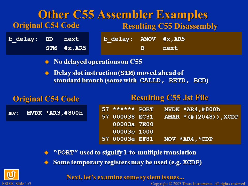 Other C55 Assembler Examples