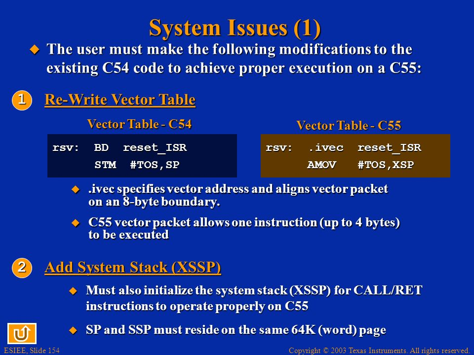 System Issues (1) The user must make the following modifications to the existing C54 code to achieve proper execution on a C55: