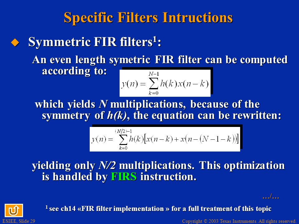 Specific Filters Intructions