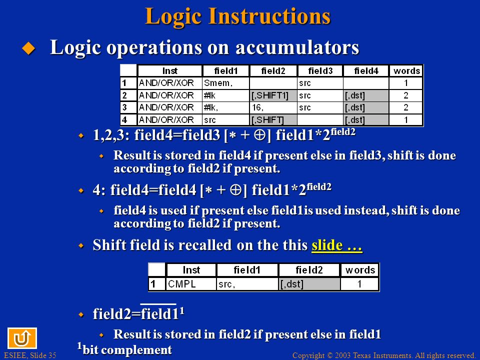 Logic Instructions Logic operations on accumulators
