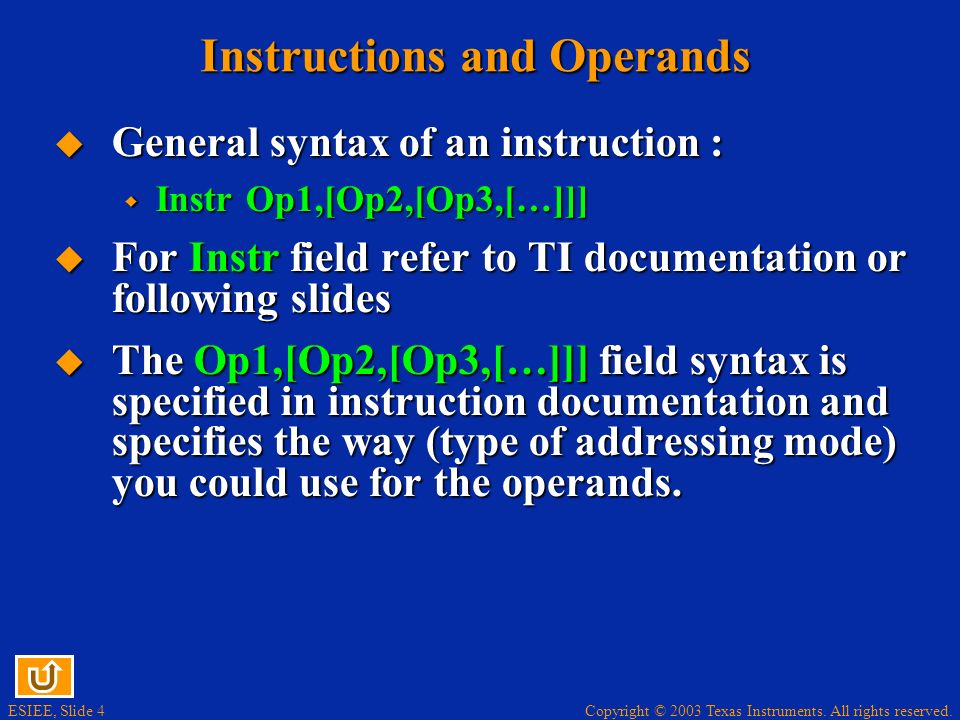 Instructions and Operands