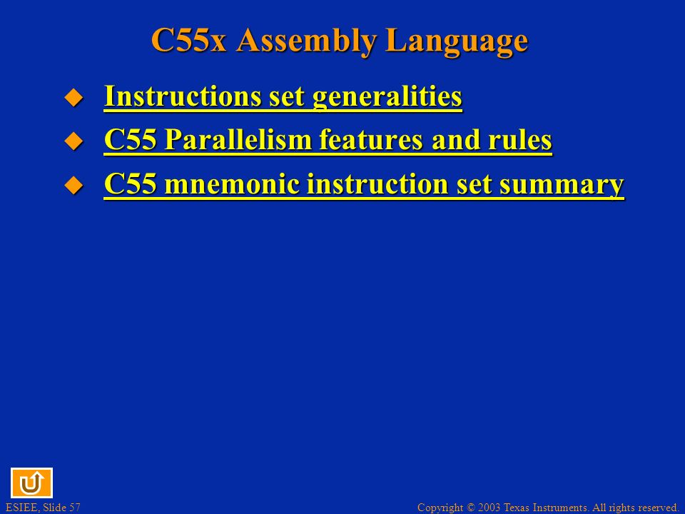 C55x Assembly Language Instructions set generalities