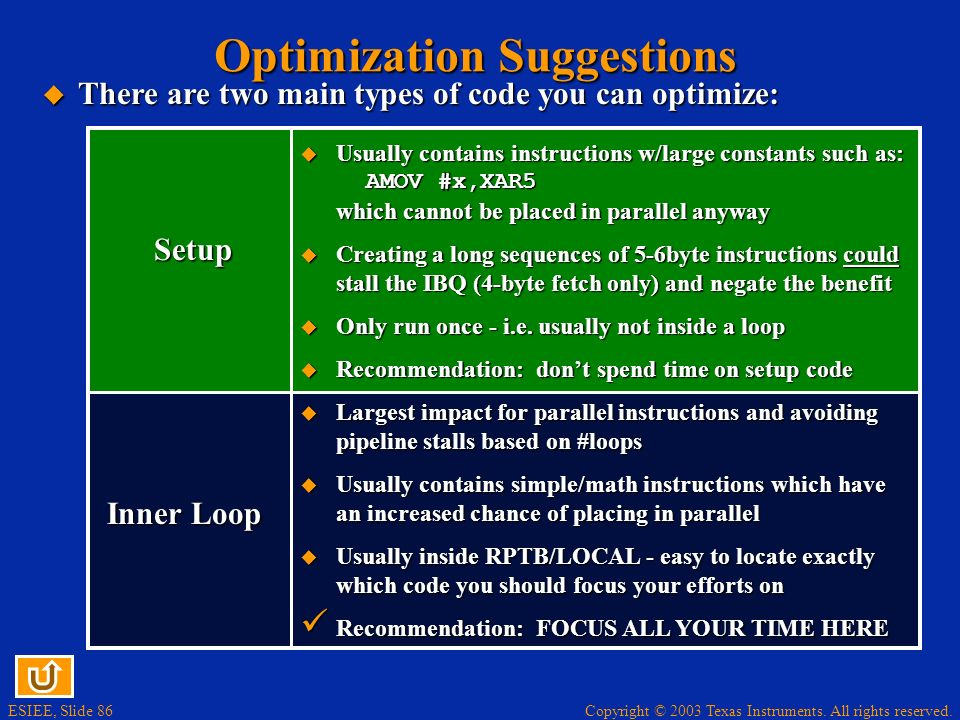 Optimization Suggestions