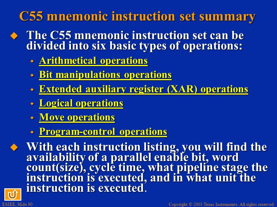 C55 mnemonic instruction set summary