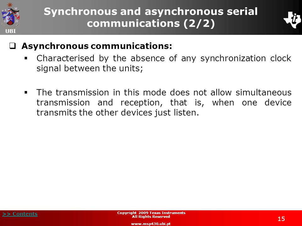 Synchronous and asynchronous serial communications (2/2)