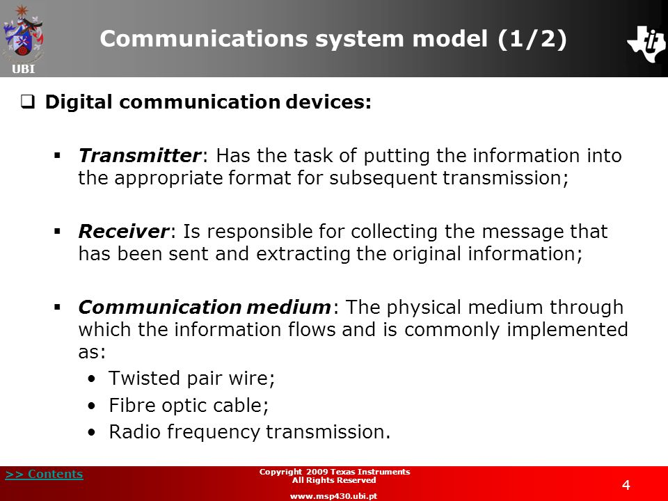 Communications system model (1/2)