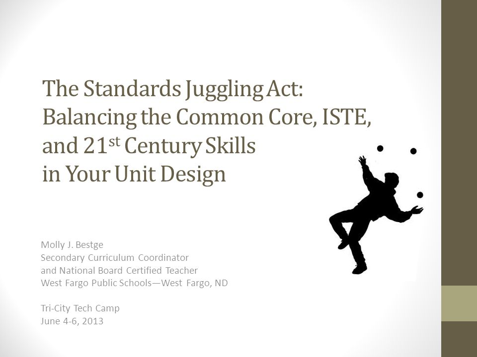The Standards Juggling Act: Balancing the Common Core, ISTE, and 21st Century Skills in Your Unit Design