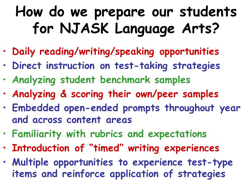 How do we prepare our students for NJASK Language Arts