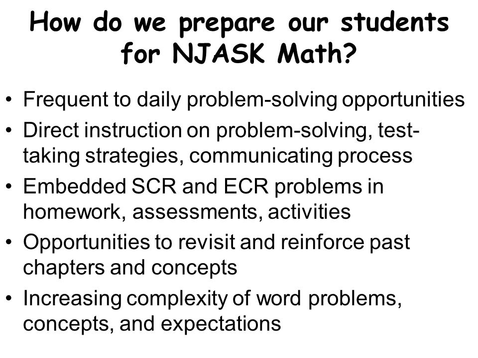 How do we prepare our students for NJASK Math