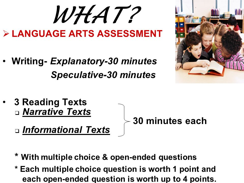 WHAT LANGUAGE ARTS ASSESSMENT Writing- Explanatory-30 minutes