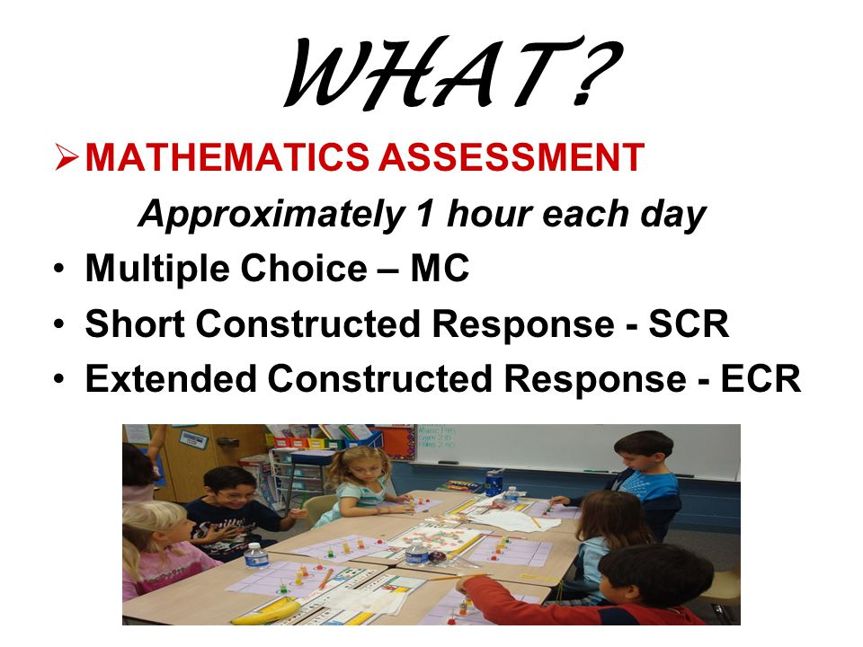 WHAT MATHEMATICS ASSESSMENT Approximately 1 hour each day