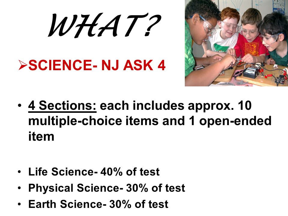 WHAT SCIENCE- NJ ASK 4. 4 Sections: each includes approx. 10 multiple-choice items and 1 open-ended item.