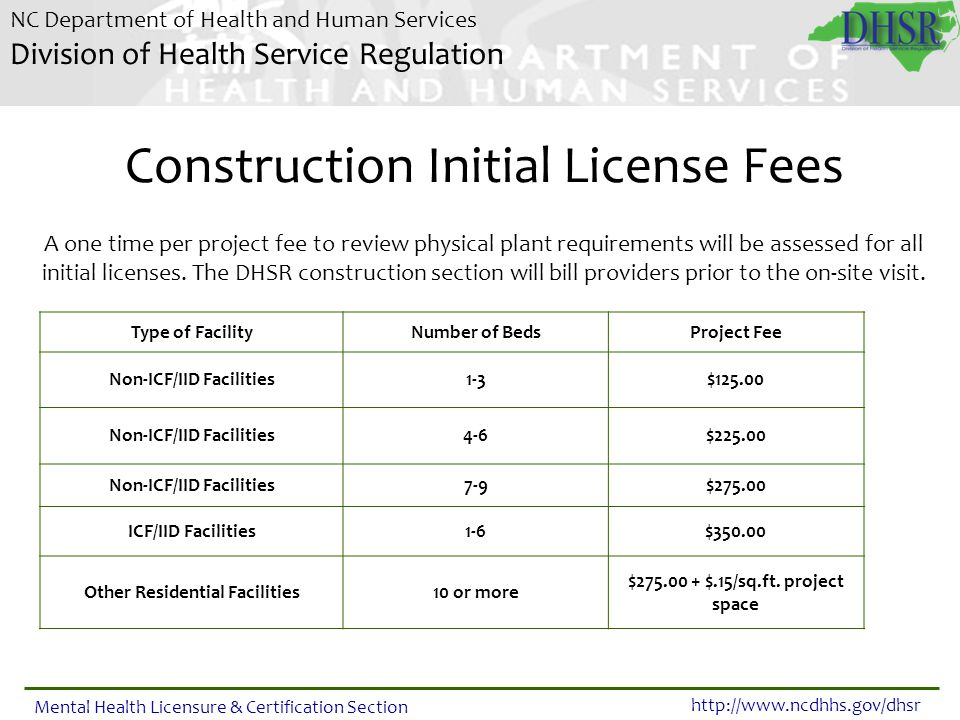 Construction Initial License Fees
