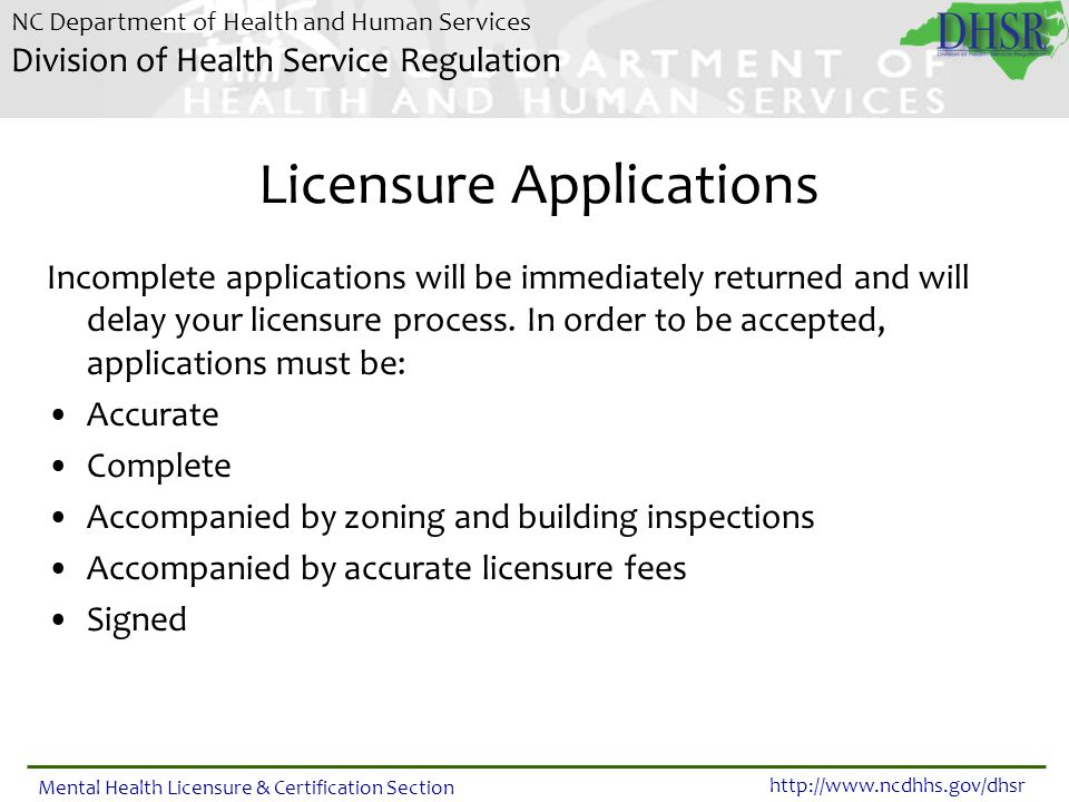 Licensure Applications