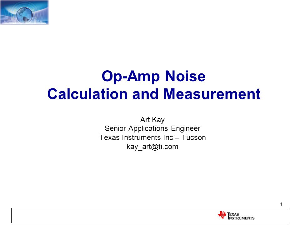 Op-Amp Noise Calculation and Measurement