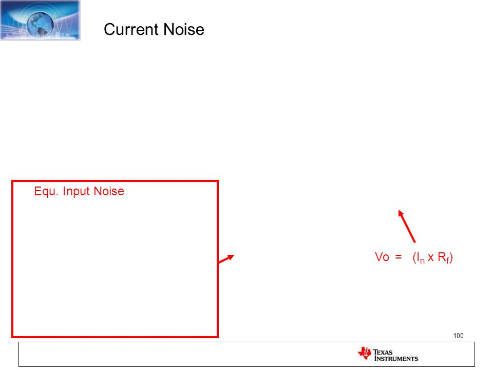 Current Noise Equ. Input Noise Vo = (In x Rf)