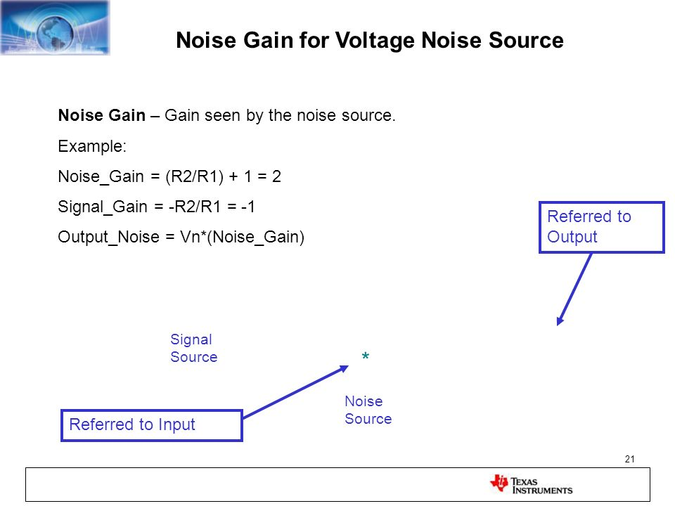 Noise Gain for Voltage Noise Source