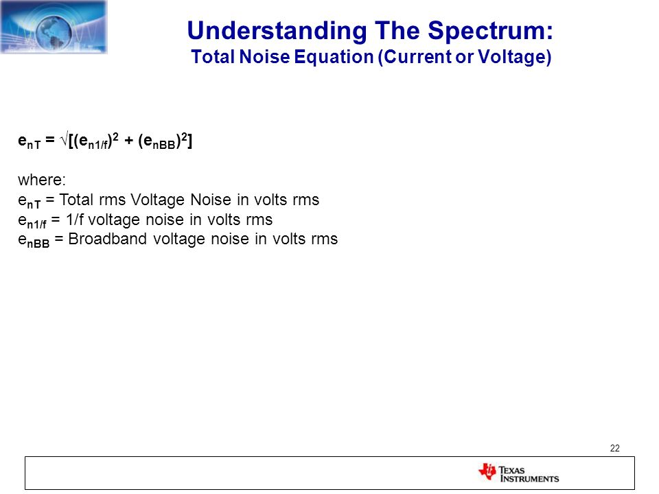 Understanding The Spectrum: Total Noise Equation (Current or Voltage)