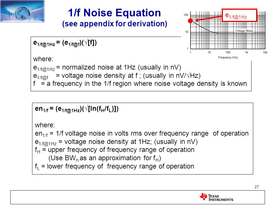 1/f Noise Equation (see appendix for derivation)