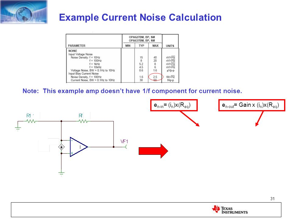 Example Current Noise Calculation