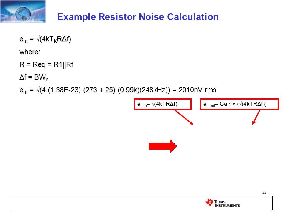 Example Resistor Noise Calculation
