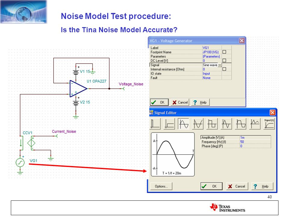 Noise Model Test procedure: