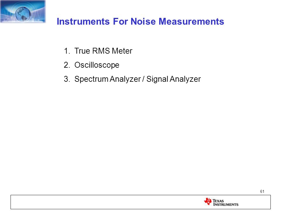 Instruments For Noise Measurements