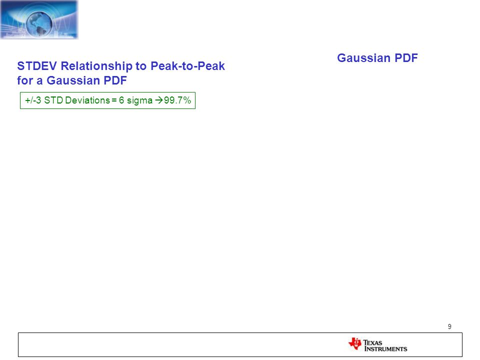 STDEV Relationship to Peak-to-Peak for a Gaussian PDF