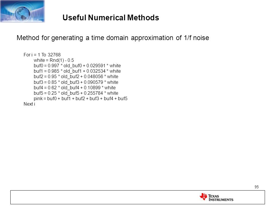 Useful Numerical Methods