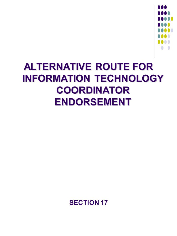 ALTERNATIVE ROUTE FOR INFORMATION TECHNOLOGY COORDINATOR ENDORSEMENT